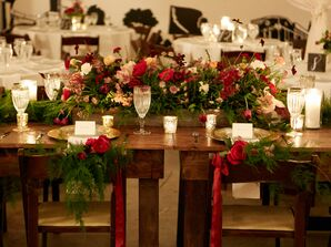 Wintry, Romantic Farm-Style Sweetheart Table