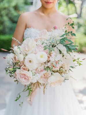 Romantic Blush-and-White Wedding Bouquet for California Wedding
