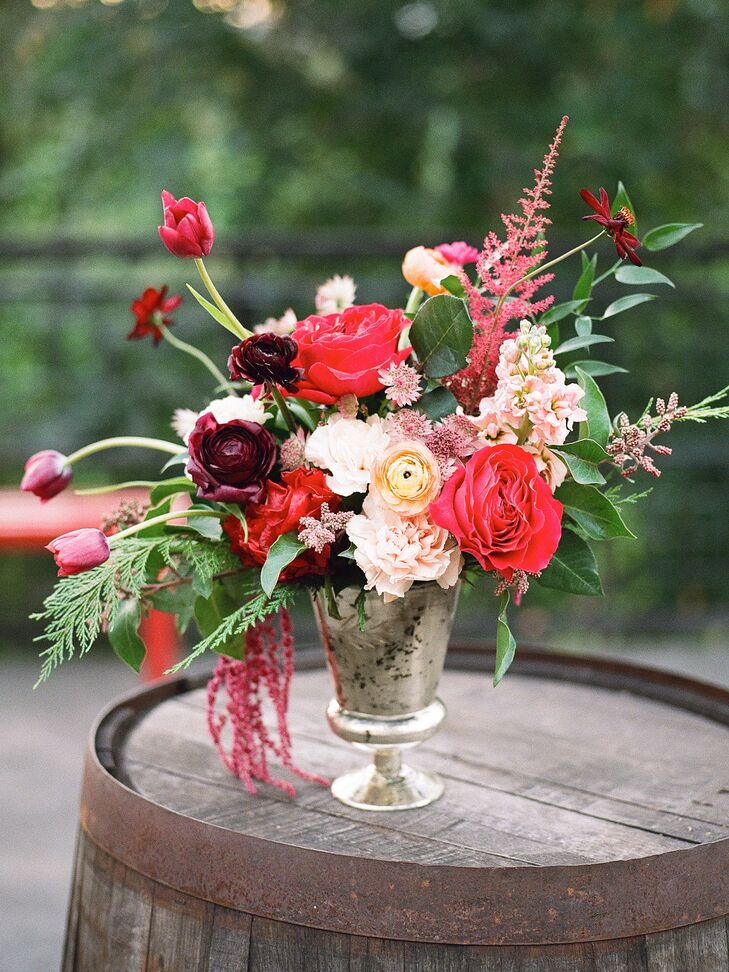 Romantic Cascading Pink, Red and Burgundy Flower Arrangement