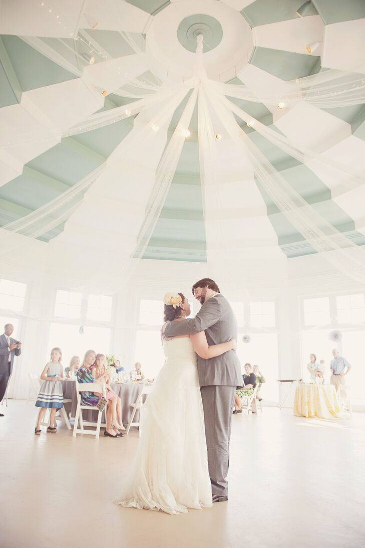 The couple had their first dance in the middle of the rotunda, with its beautiful striped ceilings.