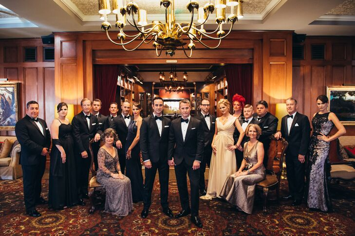 """""""We bought our own tuxedos. As for the ladies, they went all out and found gowns inspired by the art deco era. One groomslady even flew in a hair and makeup artist to help complete the 1930s hair and makeup looks,"""" says Randy."""