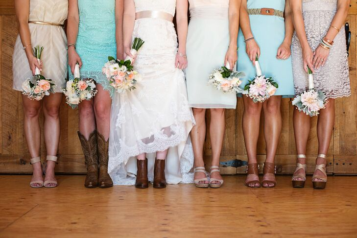 Mismatched Bridesmaid Dresses and Shoes