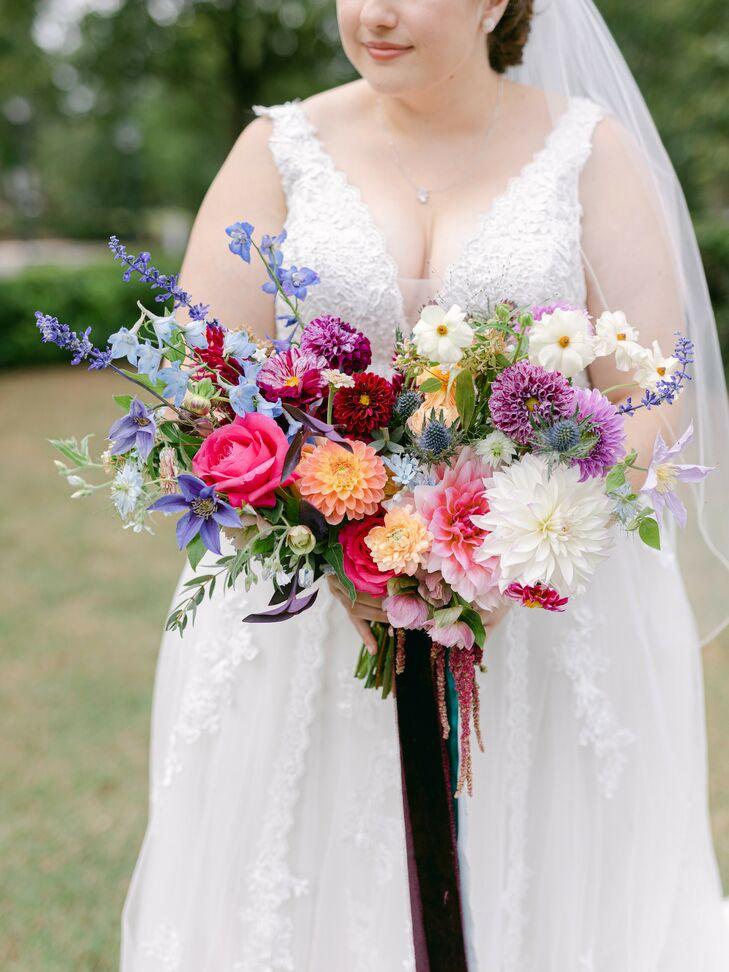 Jewel-Tone Bouquet for Wedding at Sotto Sotto in Atlanta, Georgia