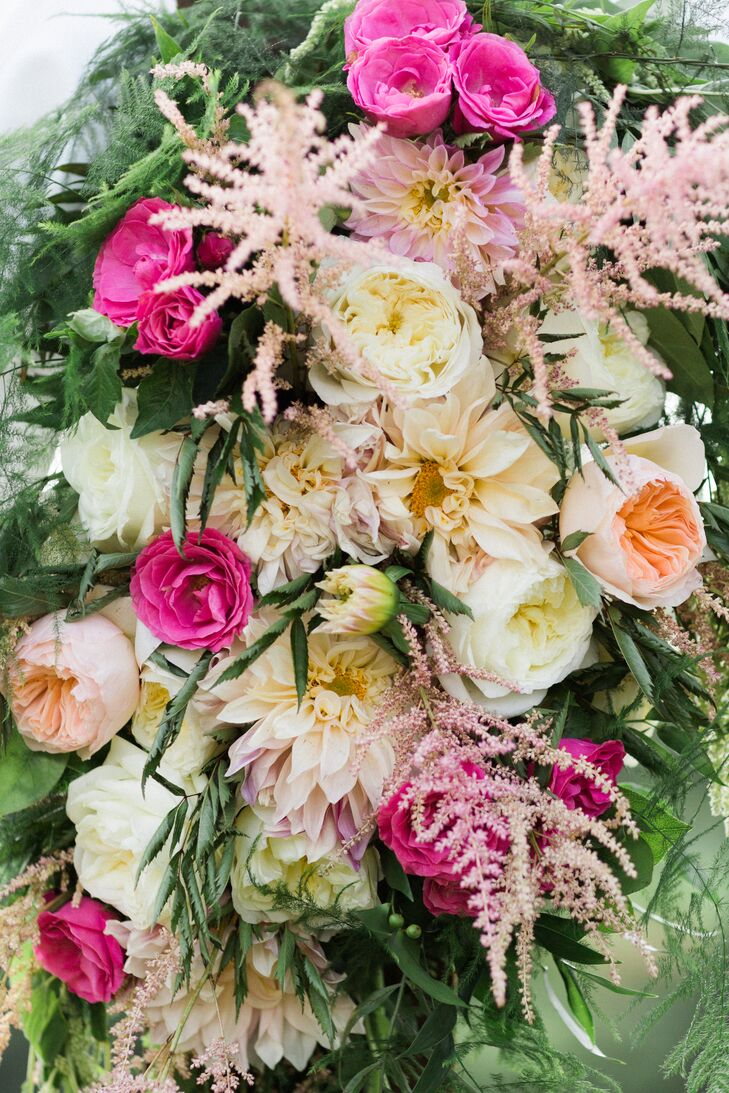 pink and ivory garden rose and astilbe arrangement