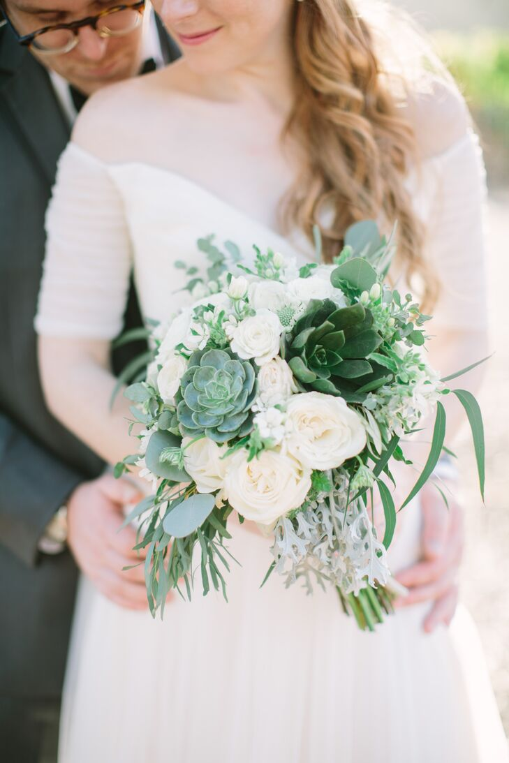 Green And White Rustic Bridal Bouquet