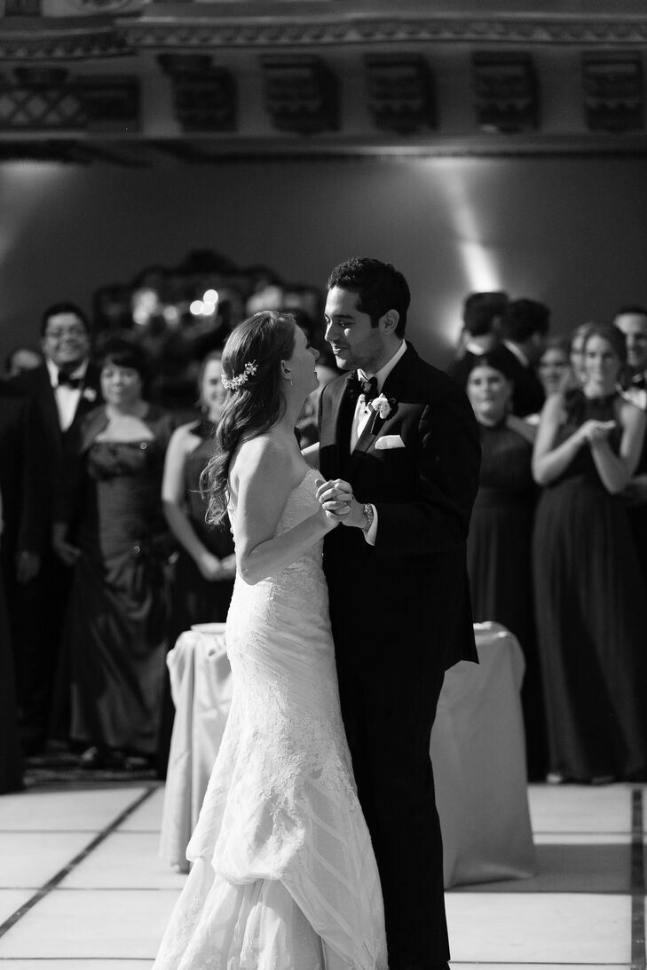 "Jordan and Joe danced to ""First Day of My Life"" by Bright Eyes. ""Our band, Greenlight, learned the song for us and performed an amazing live version,"" the bride says. ""We ended up deciding on this song because the lyrics really spoke to us. It still brings a smile to my face whenever I hear it."""