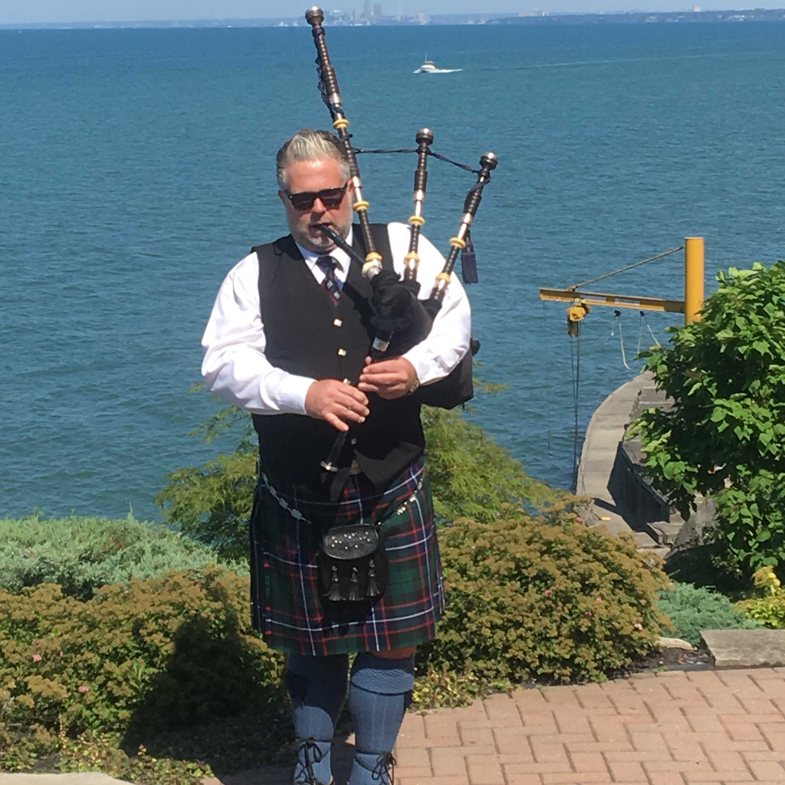 Michael Crawley has been playing bagpipes for over 22 years, playing in all major venues throughout Northeast Ohio, including Blossom, Quicken Loans Arena, Progressive Field, dating as far back as the Richfield Coliseum.  Michael is the Pipe Major of the 87th Cleveland Pipe Band, and has played bagpipes competitively all over the world.