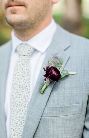 Fern-Printed Tie with a Pale Blue Jacket