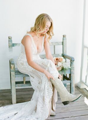 Rustic Bride with Wedding Dress, Down Hairstyle and White Cowboy Boots