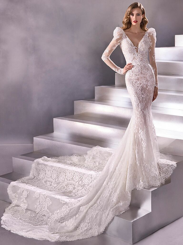 Atelier Provonias wedding dress puffy long-sleeve lace dress
