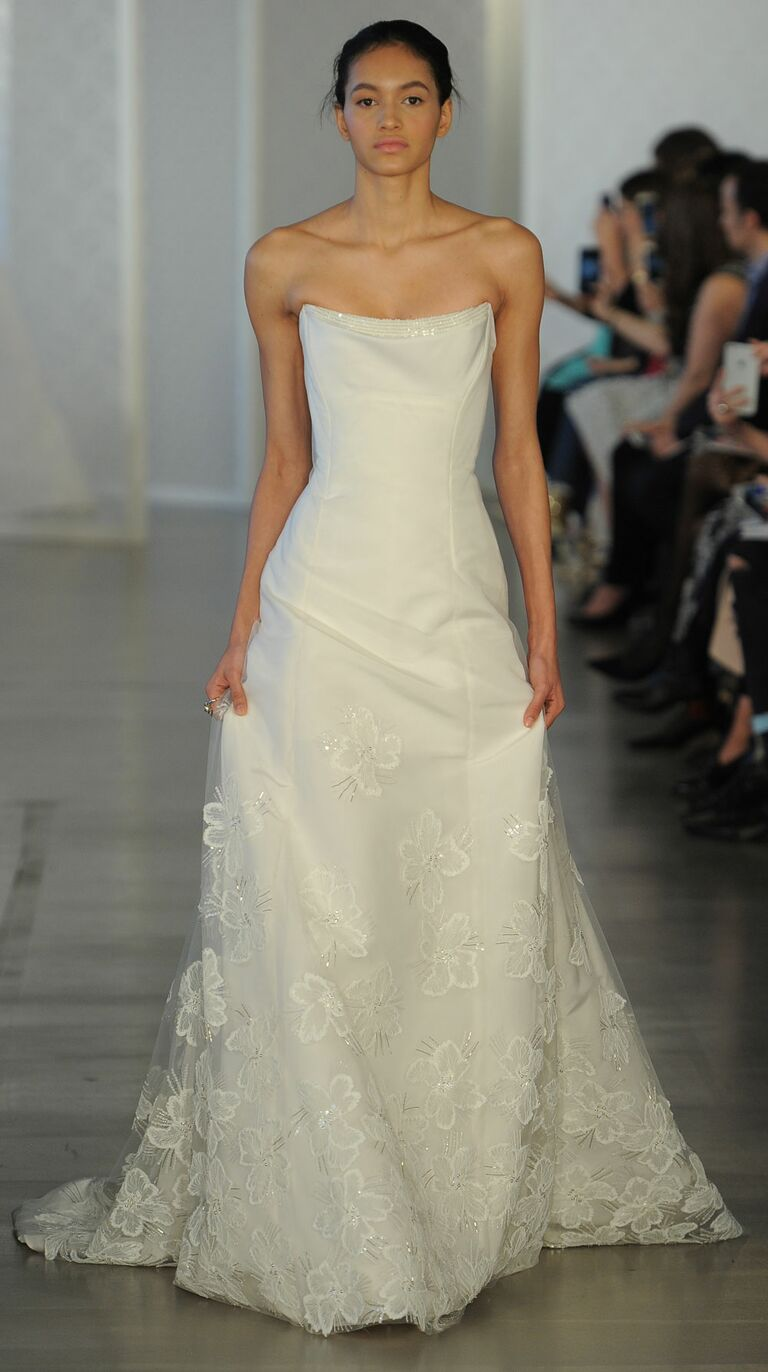 Oscar De La A Strapless Wedding Dress With Fl Details For Spring 2017