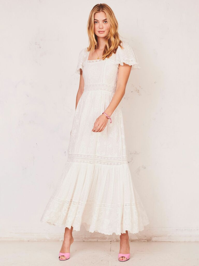 A-line embroidered dress with flutter sleeves