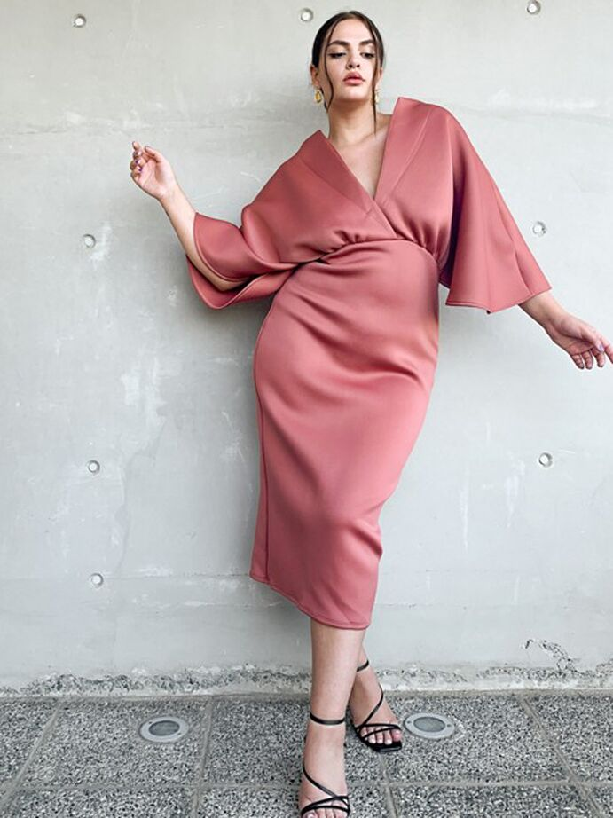 Rose-colored plus size pencil skirt dress