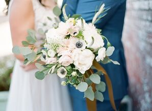 White Bridal Bouquet With Greenery