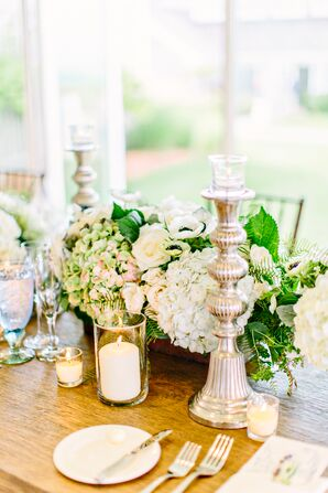 Silver Candlesticks and Ivory Pillar Candles