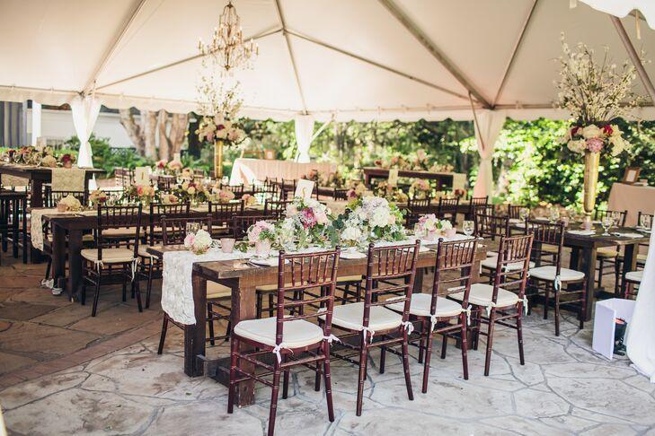 Shabby Chic Wooden Farm Table Reception Decor