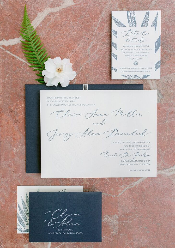 Classic Navy and White Invitation Suite with Calligraphy