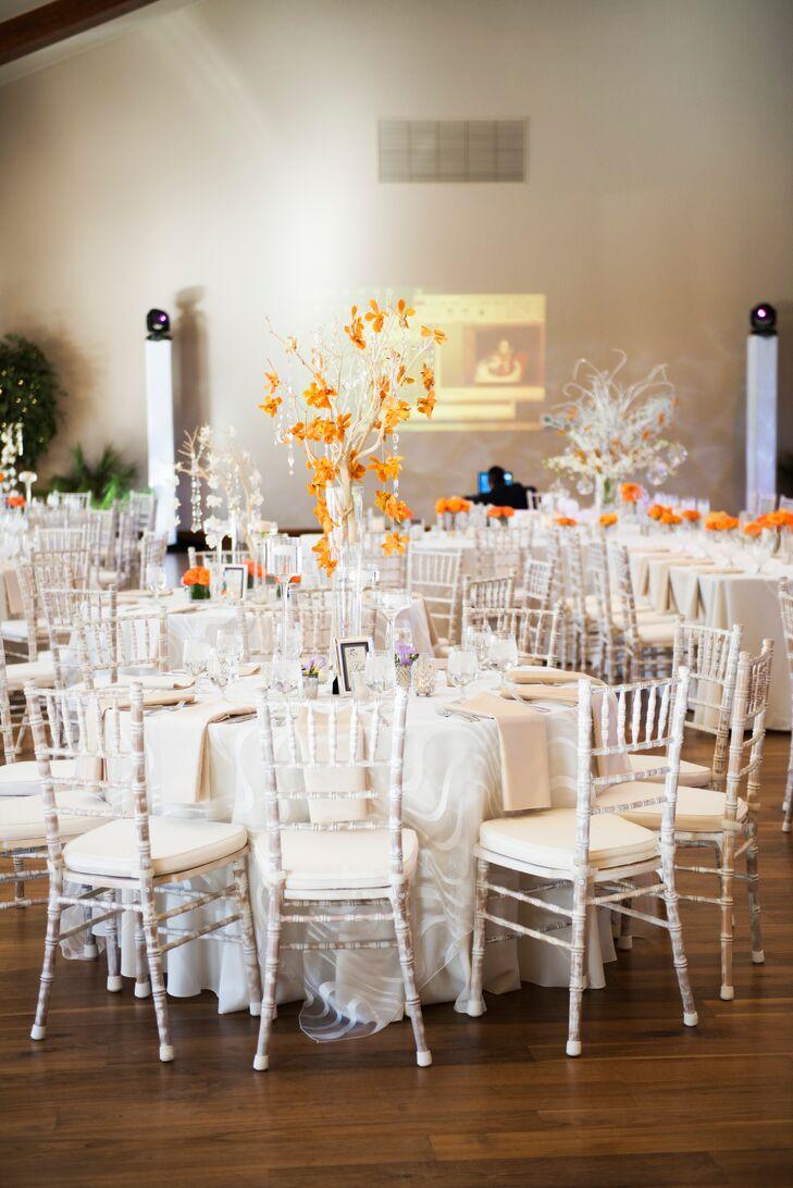 Cascading Orange Flower, White Tree Centerpieces