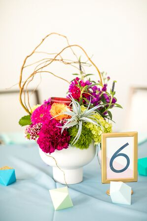 Gold Framed Table Number with Geode Decor and Bright Arrangement of Wildflowers