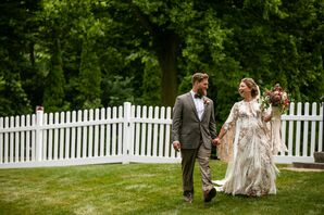 Bohemian Couple in Backyard with Light Brown Suit and Fringe Dress