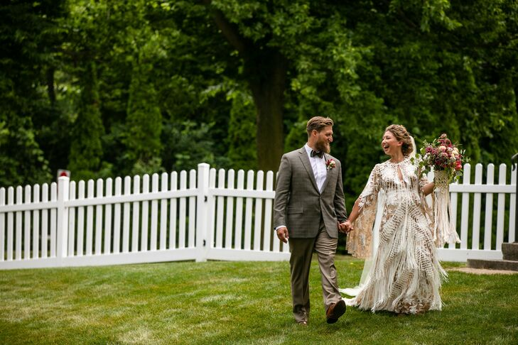 "Amy Mattern and Seth Thomas wed in the Amy's father's backyard in Sandusky Bay, Ohio. ""I wanted the day to be fun and eclectic, and I drew my inspirat"