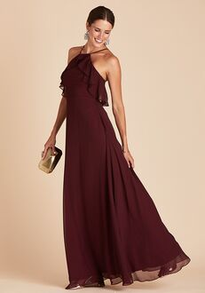 Birdy Grey Jules Chiffon Dress in Cabernet Halter Bridesmaid Dress