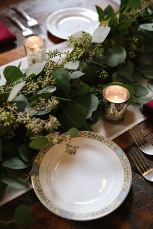 Rustic Eucalyptus Table Runner and Floral-Print China