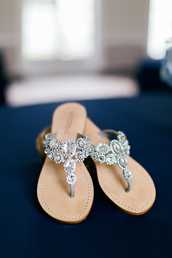 Bailie's sparkly, rhinestone embellished sandals were perfect for an outdoor wedding.