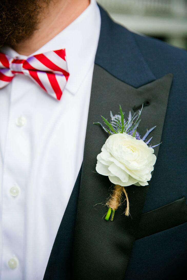 White Ranunculus, Blue Thistle Groomsmen Boutonniere