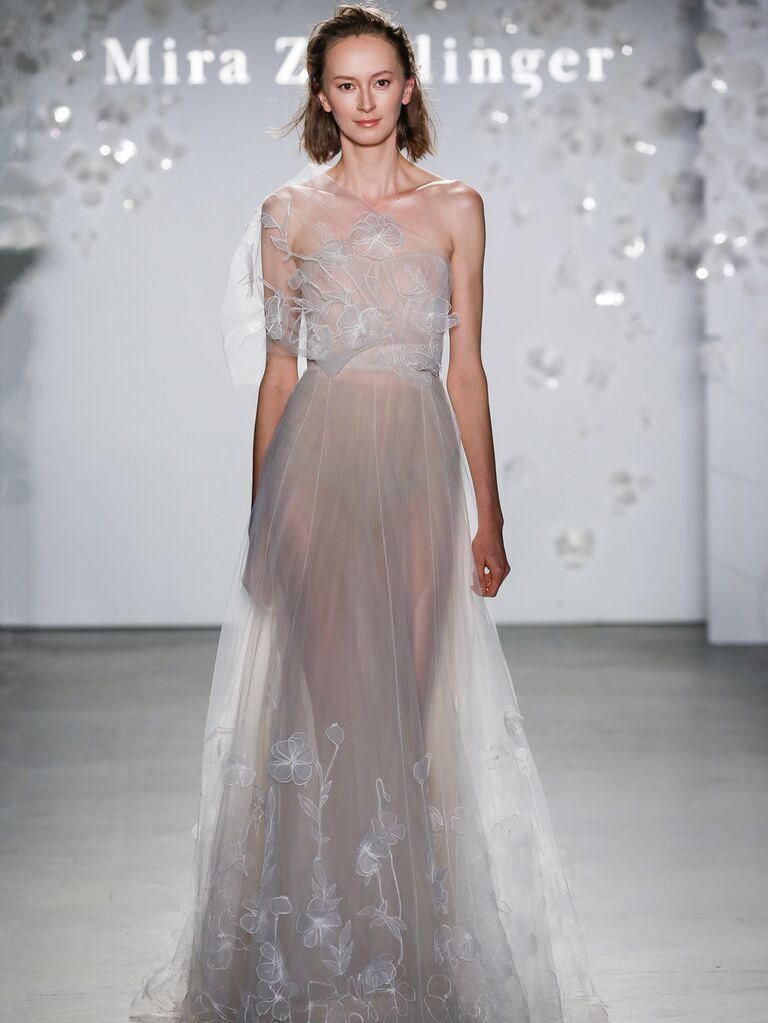 Mira Zwillinger Spring 2020 Bridal Collection asymmetrical sheer wedding dress