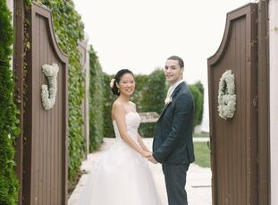Inspired by their love for sunny days, Joyce and Gary decided on a romantic daytime wedding with a natural color scheme of blush, peach and ivory tone