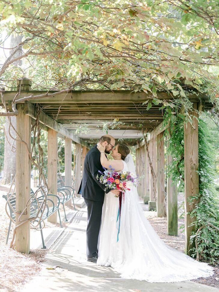 Couple Sharing Kiss During Wedding at Sotto Sotto in Atlanta, Georgia