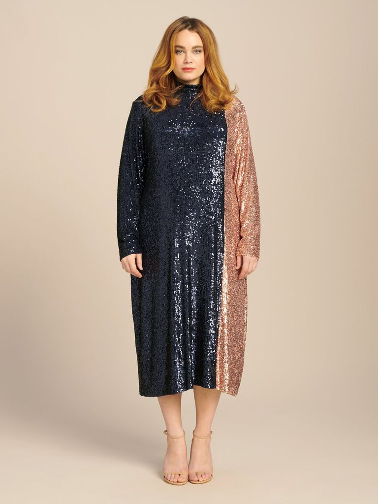 Two-tone plus size glitter midi dress with high neckline and long sleeves
