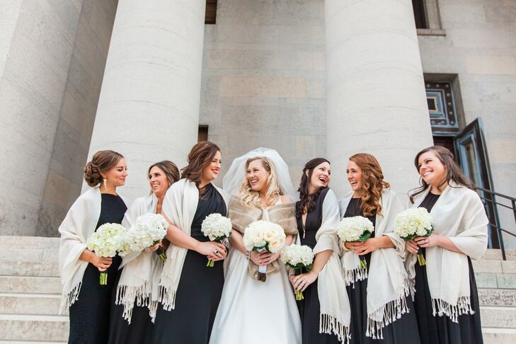 Black Bridesmaid Dresses with White Shawls