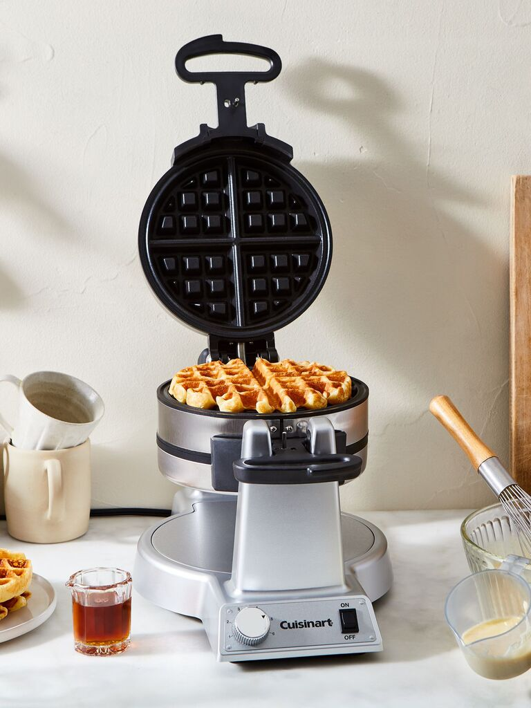 Double waffle iron with waffle inside fourth anniversary modern gift