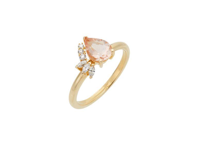 Mejuri pear-cut peach morganite and diamond ring in 14K yellow gold