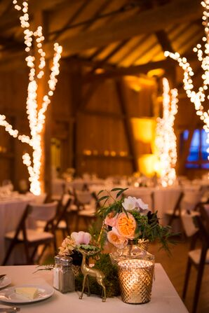 Green and Peach Floral Centerpieces