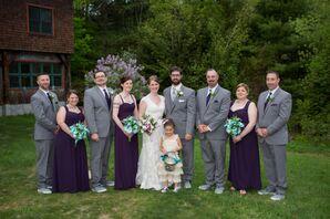 Plum and Gray Wedding Party Attire