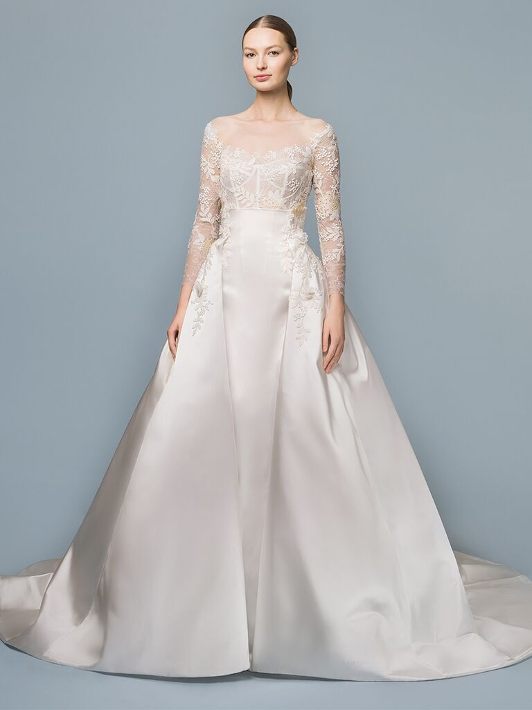 EDEM Demi Couture ballgown with illusion neckline and lace long sleeves