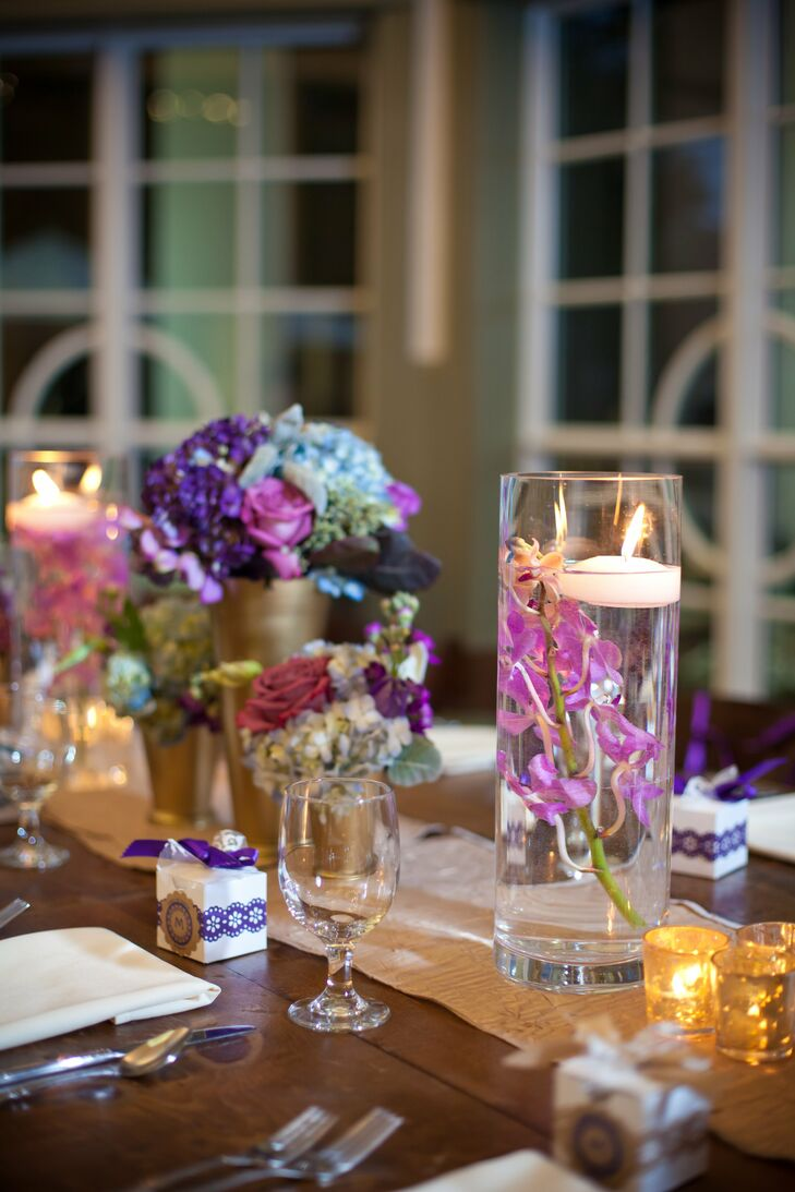 Hydrangea and Floating Candle Centerpiece