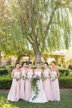 Blush Floor-Length Bridesmaid Dresses