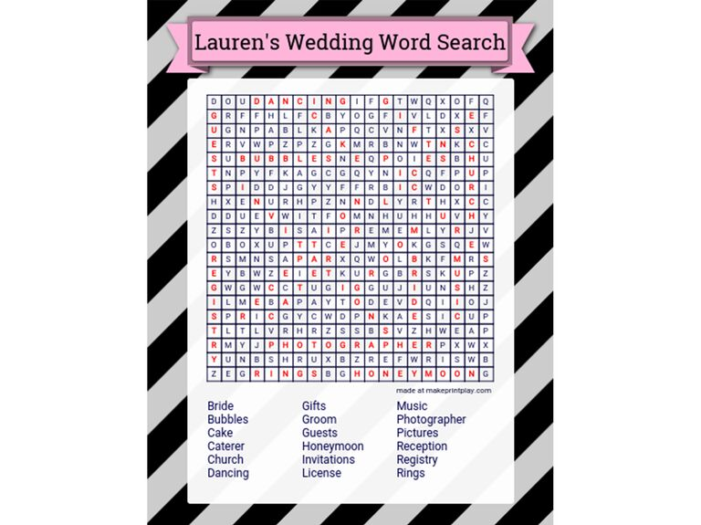 Free customizable bridal shower word search