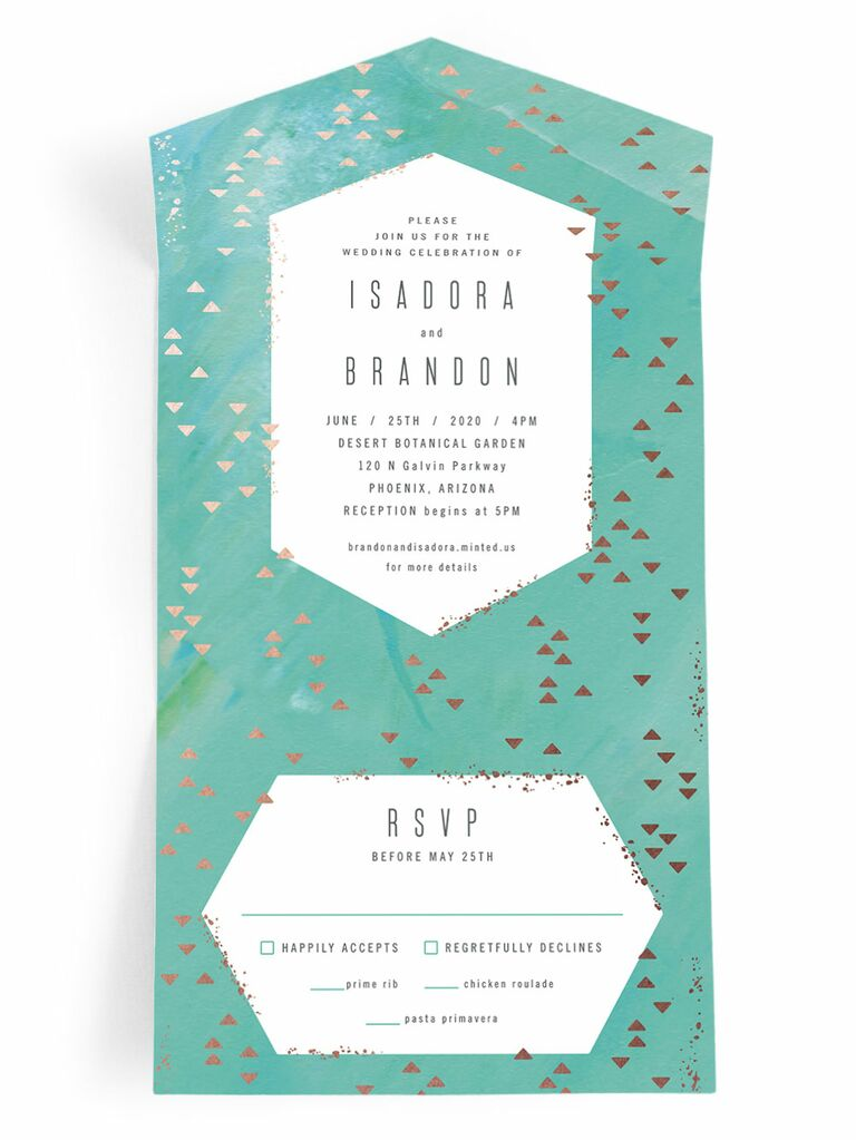 Metallic Minted all-in-one spring wedding invitation