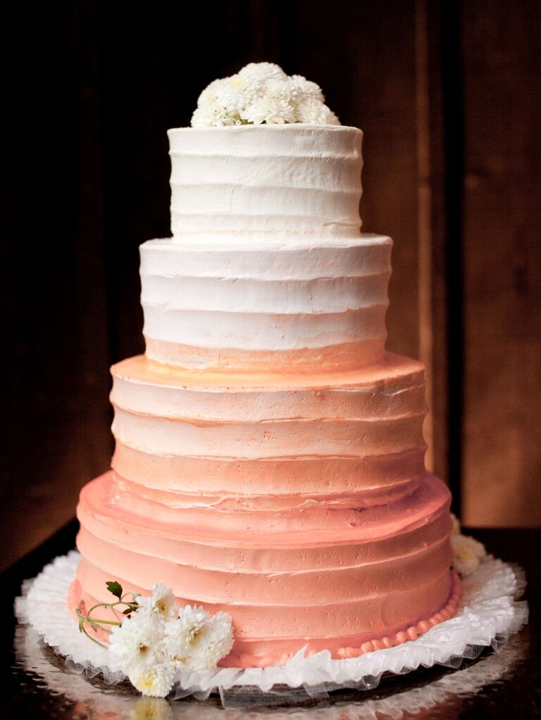 Living Coral Wedding Cake