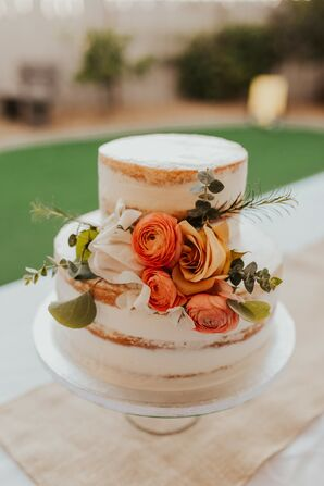 Two-Tier Semi-Naked Cake With Flower Accents