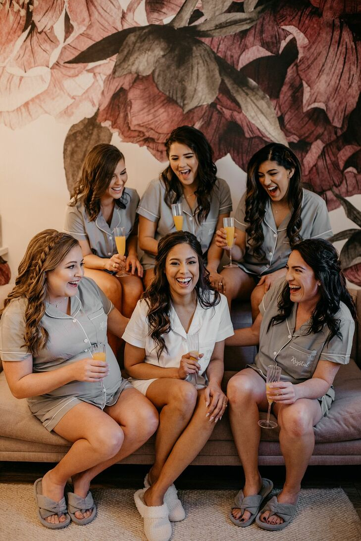 Bridal Party Getting Ready with Robes and Down Hairstyles