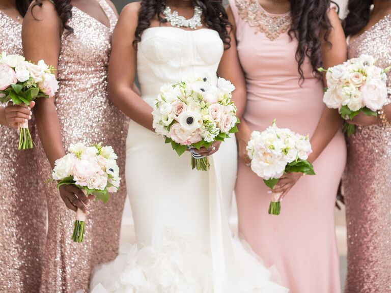 03fcc7f58d3 Bridesmaids in blush sequin formal dresses