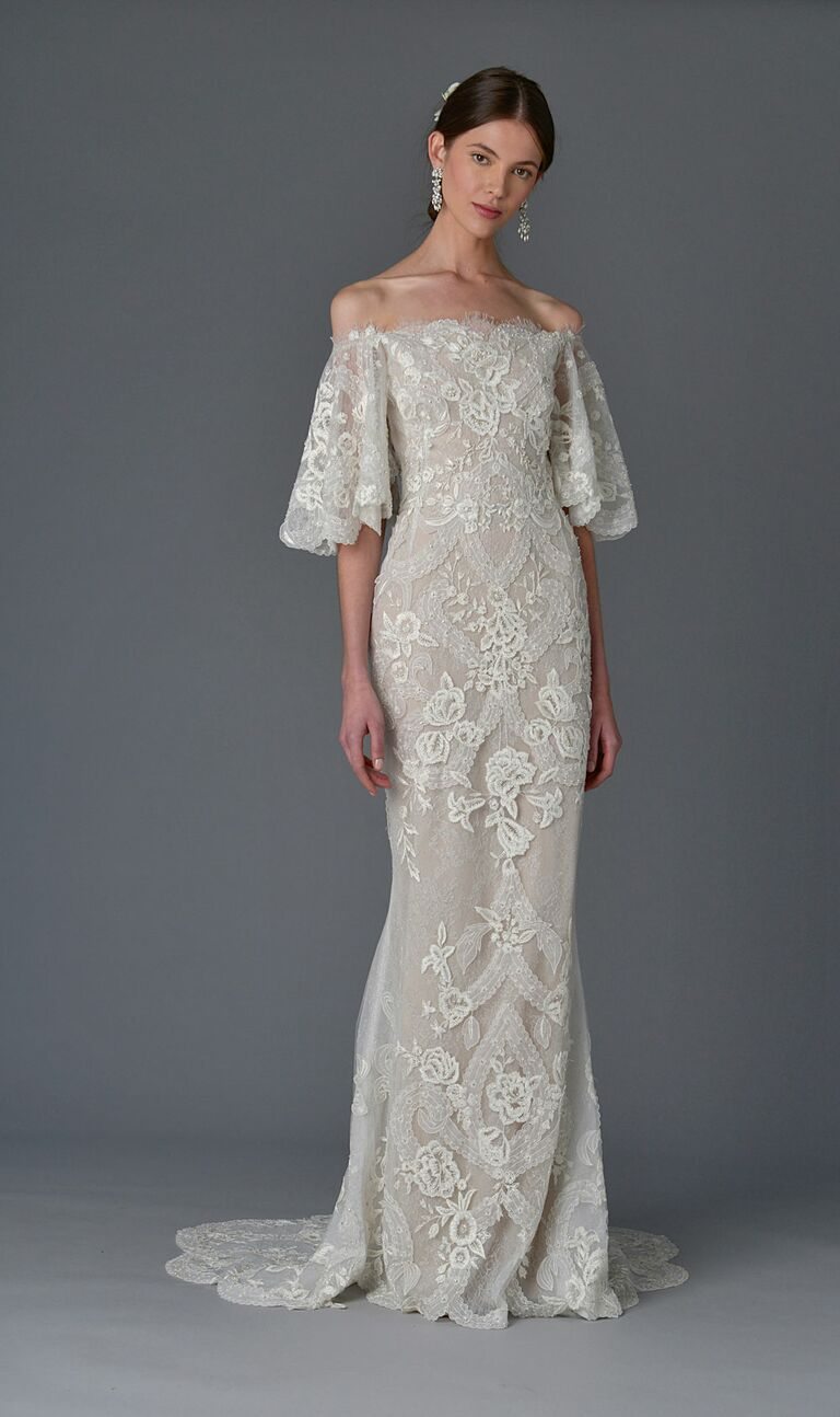 91f19f148c Marchesa Spring 2017 off-shoulder sheath wedding dress with lace floral art  deco detail