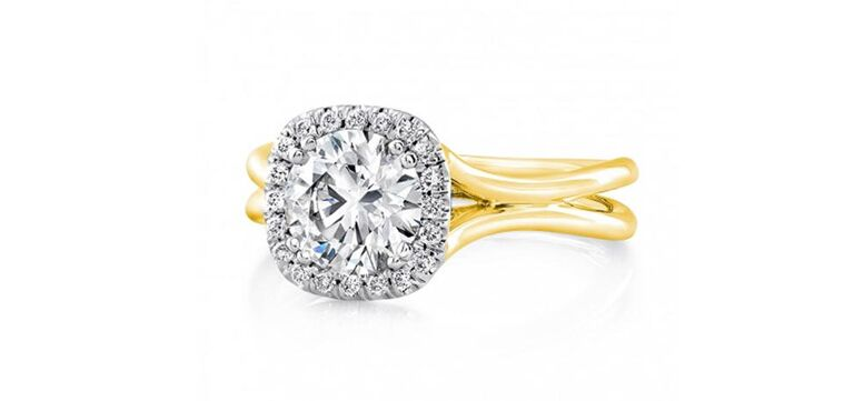 Yellow gold silhouette band engagement ring by Uneek
