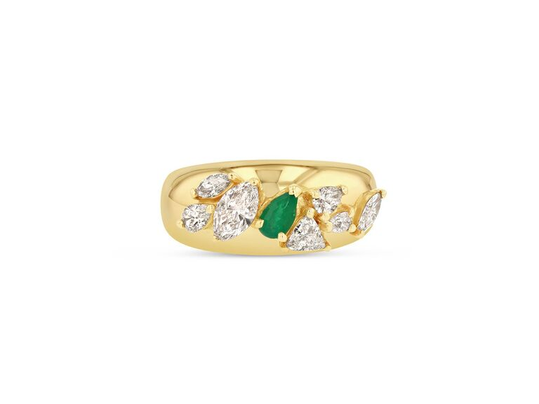 Emerald and diamond engagement ring on gold band